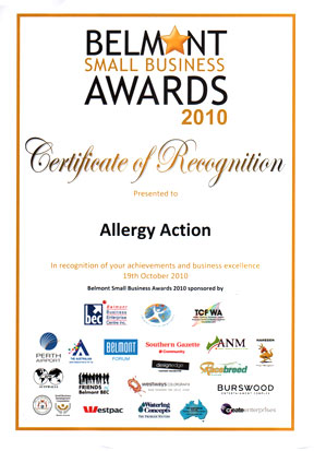 Allergy Action Small Business Award 2010